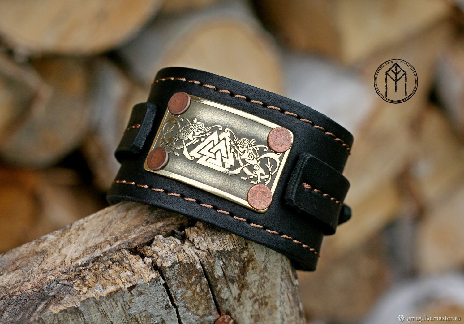 The band is rigid: Leather bracelet with insert ' Valhalla', Hard bracelet, Tolyatti,  Фото №1