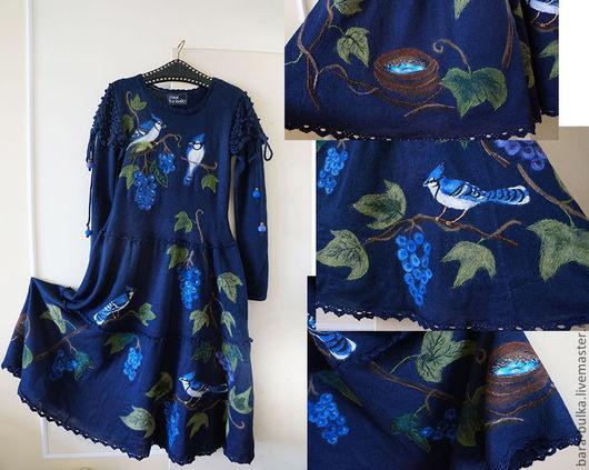 """Платья ручной работы. Ярмарка Мастеров - ручная работа. Купить Платье синее """"Семья соек в винограде"""". Handmade. Тёмно-синий"""