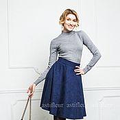 Одежда ручной работы. Ярмарка Мастеров - ручная работа Юбка из эко-замши  длина миди на подкладке синяя. Handmade.