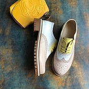 Обувь ручной работы handmade. Livemaster - original item Inspektor oxfords pink/white / light yellow beige sole with inserts. Handmade.