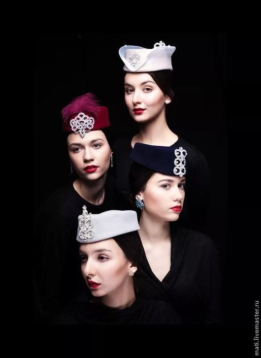 """Шляпы ручной работы. Ярмарка Мастеров - ручная работа. Купить шляпка """" Сияние"""". Handmade. Синий цвет, велюровая шляпа"""