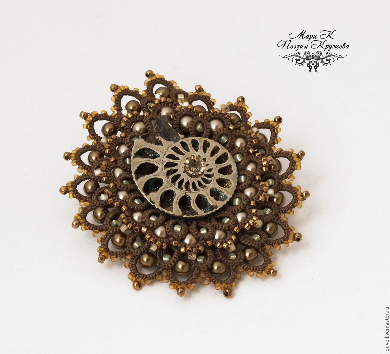 Brooch 'Ammonite' Author lace brooch handmade e, Brooches, Novosibirsk,  Фото №1