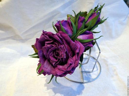Диадемы, обручи ручной работы. Ярмарка Мастеров - ручная работа. Купить Обруч с розами. Handmade. Тёмно-фиолетовый, свадьба