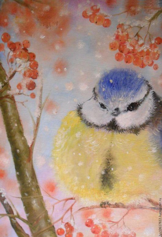"""Животные ручной работы. Ярмарка Мастеров - ручная работа. Купить """"Синичка"""" картина для души на холсте.. Handmade. Комбинированный, картина в детскую"""