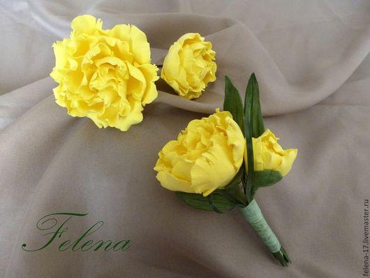 Пионы из полимерной глины украсят прическу и дополнят Ваш образ. Цветы никогда не завянут и будут радовать Вас долгие годы!