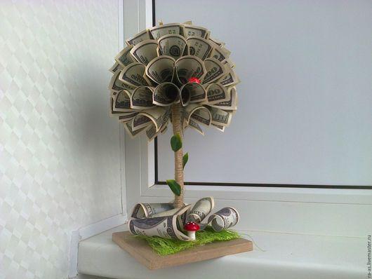 Приколы ручной работы. Ярмарка Мастеров - ручная работа. Купить Денежное дерево.. Handmade. Денежное дерево, денежный топиарий