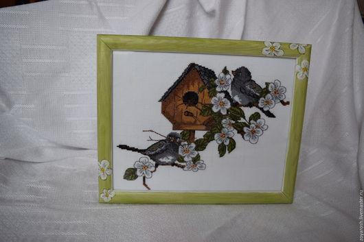 Картины цветов ручной работы. Ярмарка Мастеров - ручная работа. Купить Вышивка крестиком, картина, панно С новосельем. Handmade.