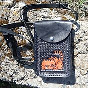 Сумки и аксессуары ручной работы. Ярмарка Мастеров - ручная работа Кожаная черная сумка для мелочей Рыжий кот. Handmade.