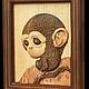 """Животные ручной работы. картина из дерева """"Мартышка"""". Paulus. Интернет-магазин Ярмарка Мастеров. Дерево, картина, морилка"""