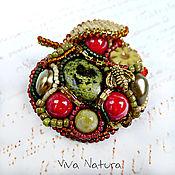 Украшения handmade. Livemaster - original item Brooch Apple of joy - with natural stones, pearl and seed beads. Handmade.