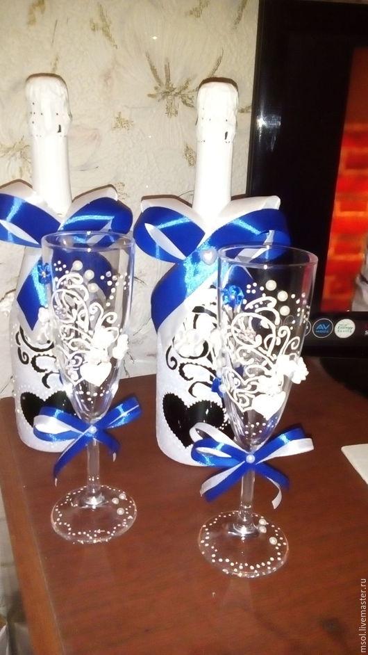 Свадебные аксессуары ручной работы. Ярмарка Мастеров - ручная работа. Купить Свадебное украшение шампанского. Handmade. Синий, свадебные аксессуары