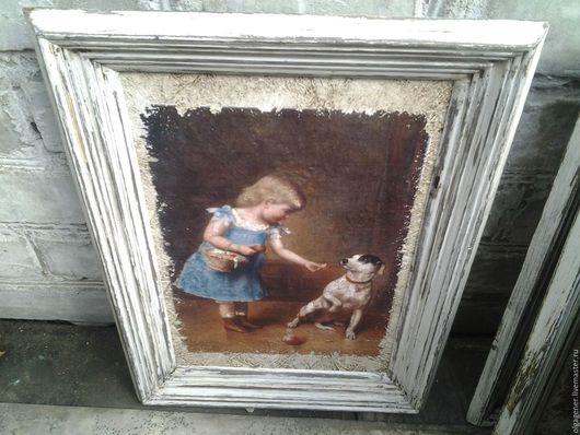 Животные ручной работы. Ярмарка Мастеров - ручная работа. Купить Картина 20х30_ в  бело-коричневом багете_Джек-Рассел_1 PF0170. Handmade.