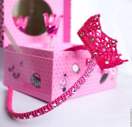 Детская бижутерия ручной работы. Ярмарка Мастеров - ручная работа. Купить Розовая корона на ободке для принцессы. Handmade. Корона, фуксия