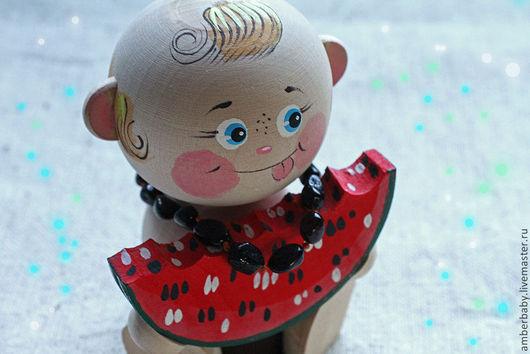 """Детская бижутерия ручной работы. Ярмарка Мастеров - ручная работа. Купить Детский янтарный комплект """"Арбузные семечки"""" (ожерелье и браслетик). Handmade."""
