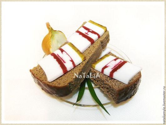 """Мыло ручной работы. Ярмарка Мастеров - ручная работа. Купить Мыло """"Бутерброд с салом"""". Handmade. Разноцветный, черный хлеб"""