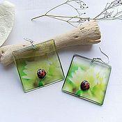Украшения handmade. Livemaster - original item Transparent Earrings Square Earrings Ladybug on a Leaf. Handmade.