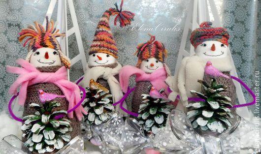 Сказочные персонажи ручной работы. Ярмарка Мастеров - ручная работа. Купить снеговики 2016. Handmade. Розовый, синтепух