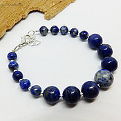 Украшения handmade. Livemaster - original item Lapis lazuli bracelet Beautiful sky 17 cm. Handmade.