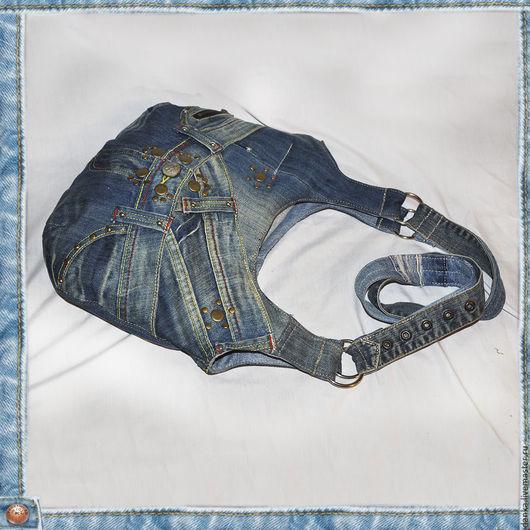 Женские сумки ручной работы. Ярмарка Мастеров - ручная работа. Купить Сумка из джинсовой ткани двустроронняя. Модель 49/1. Handmade.