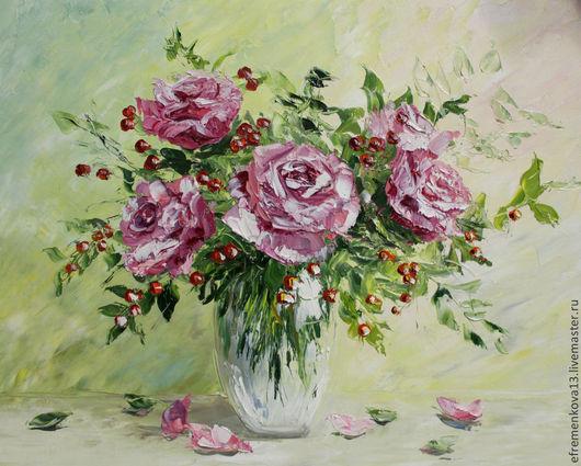 """Картины цветов ручной работы. Ярмарка Мастеров - ручная работа. Купить Картина """"Розы с калинкой"""". Handmade. Картина в подарок, мастихин"""