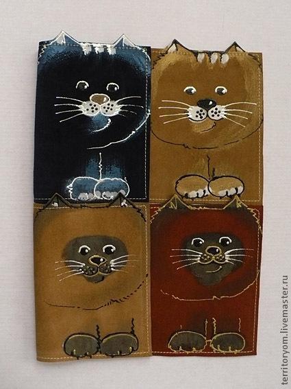 Обложки ручной работы. Ярмарка Мастеров - ручная работа. Купить Кошки-обложки. Handmade. Обложка на паспорт, кожа, коты