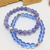Украшения handmade. Livemaster - original item Set of bracelets Lilac haze (anhydrite and glass). Handmade.