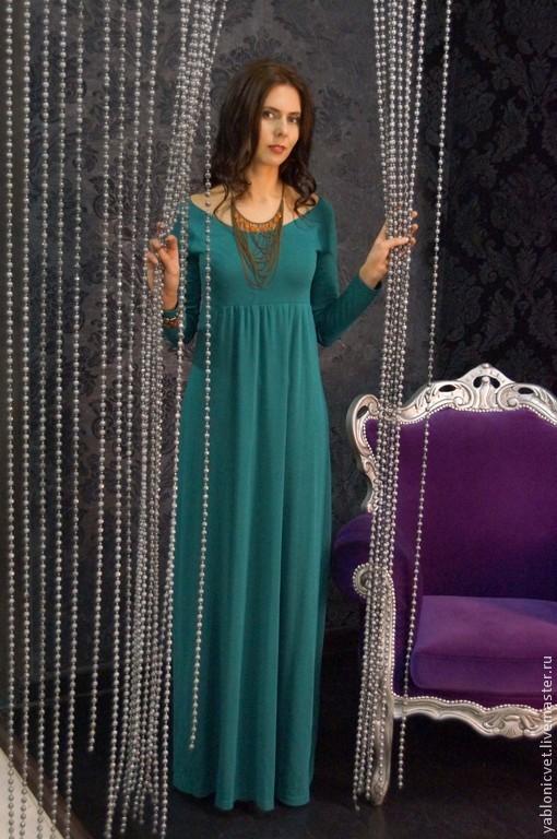Платья ручной работы. Ярмарка Мастеров - ручная работа. Купить платье в пол из итальянской вискозы. Handmade. Морская волна
