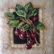 """Картины и панно ручной работы. Ярмарка Мастеров - ручная работа Картина из шерсти """"Спелая вишня"""". Handmade."""