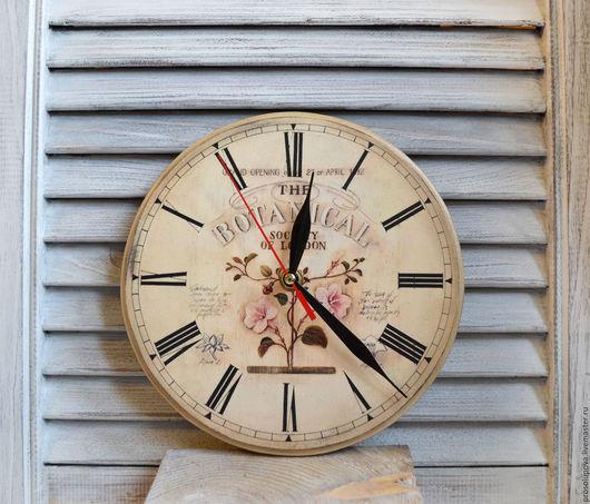 """Часы для дома ручной работы. Ярмарка Мастеров - ручная работа. Купить Часы настенные винтажные декупаж """"Botanical"""". Handmade. Часы"""