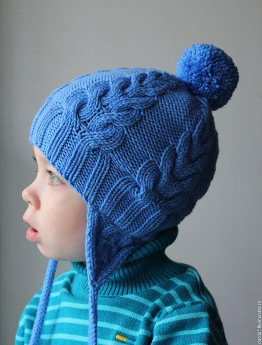 """Шапки и шарфы ручной работы. Ярмарка Мастеров - ручная работа. Купить Детская вязаная шапка """"Cables"""". Handmade. Голубой, осень"""