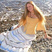 Одежда ручной работы. Ярмарка Мастеров - ручная работа Нежность.Длинная нежно голубая-бело кремовая многоярусная юбка.. Handmade.