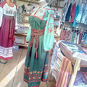 Одежда ручной работы. Ярмарка Мастеров - ручная работа платье с обережной вышивкой, отделано красным кружевом и красной подоп. Handmade.