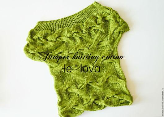 Кофты и свитера ручной работы. Ярмарка Мастеров - ручная работа. Купить Джемпер ручной вязки с косами фисташкового цвета. Handmade.