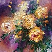 Картины и панно handmade. Livemaster - original item Large oil painting on canvas yellow roses. Handmade.