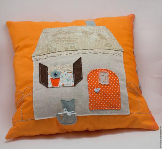 Текстиль, ковры ручной работы. Ярмарка Мастеров - ручная работа. Купить Подушка Домик. Handmade. Подушка, подушка с аппликацией, кружево