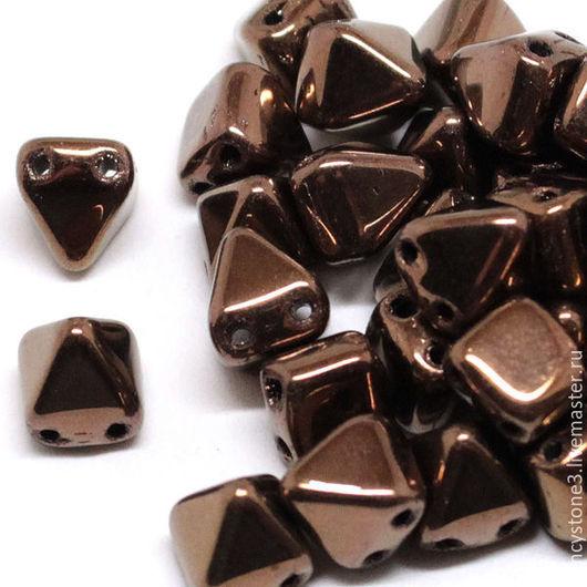 Для украшений ручной работы. Ярмарка Мастеров - ручная работа. Купить 15шт Чешские бусины Пирамидки 6мм, Bronze Pyramids Czech beads. Handmade.