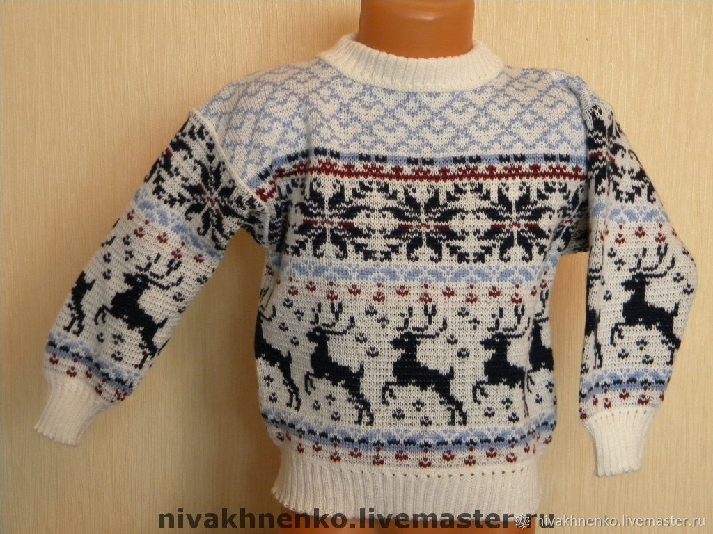 Sweater with reindeer and Norwegian ornament, Sweaters, Moscow, Фото №1