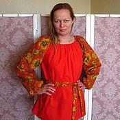"""Русский стиль ручной работы. Ярмарка Мастеров - ручная работа Блуза в фольклорном стиле """"Хохлома"""". Handmade."""