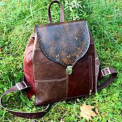 Сумки и аксессуары handmade. Livemaster - original item Backpack made of genuine leather, this boho chocolate Burgundy. Handmade.