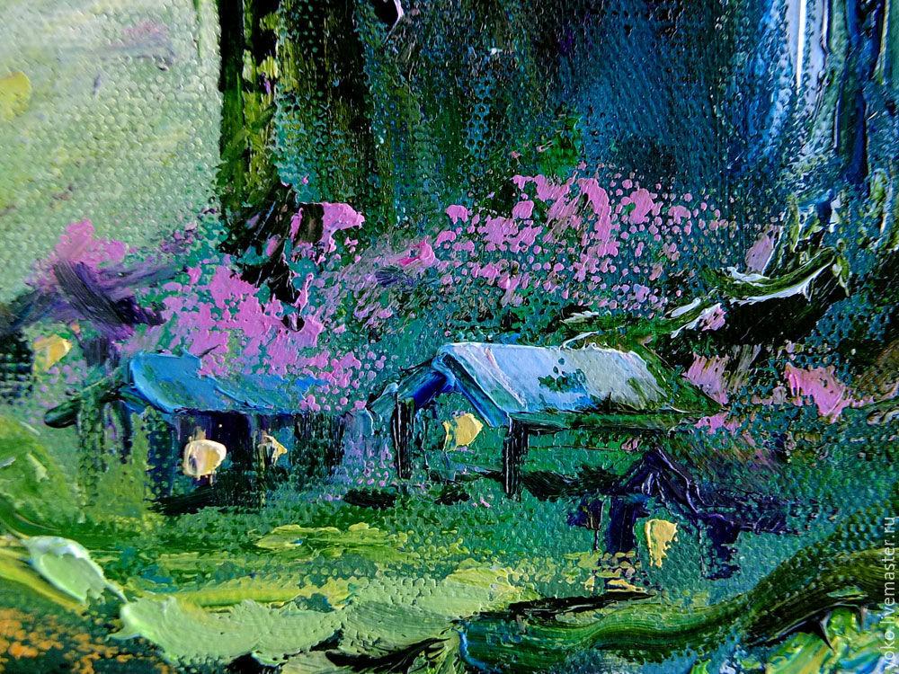 "Multicolor Francoise Nielly Portraits Handmade Oil: The Painting ""Spring Song Sakura"" Picture Sakura Oil"