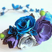 Украшения ручной работы. Ярмарка Мастеров - ручная работа Венок с цветами из фоамирана. Handmade.