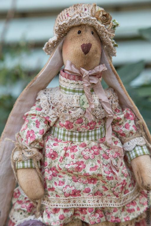 Куклы Тильды ручной работы. Ярмарка Мастеров - ручная работа. Купить Винтажная плюшевая зайка Лея. Handmade. Розовый