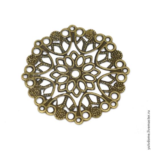 Для украшений ручной работы. Ярмарка Мастеров - ручная работа. Купить 0080 Металлическое украшение бронза 3,5см. Handmade.