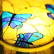 """Для дома и интерьера ручной работы. Ярмарка Мастеров - ручная работа Ваза - витражи """"Бабочки"""". Handmade."""
