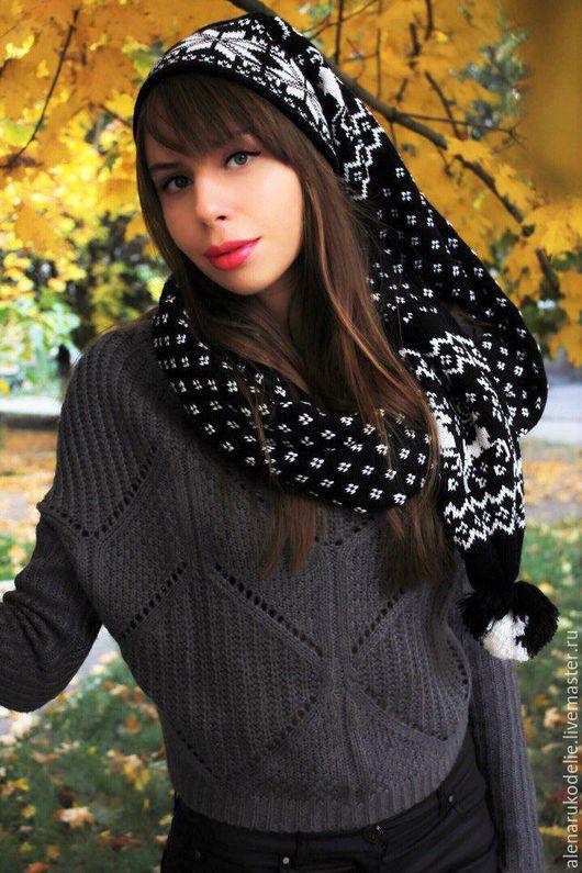 Шапки ручной работы. Ярмарка Мастеров - ручная работа. Купить Шапка-шарф. Handmade. Черный, шапка зимняя, шапка для подростка