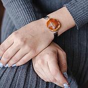 handmade. Livemaster - original item Brown narrow bracelet with agate stone. Handmade.