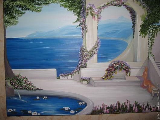 Пейзаж ручной работы. Ярмарка Мастеров - ручная работа. Купить Картина маслом.  Уютный уголок у синего моря.. Handmade. Голубой