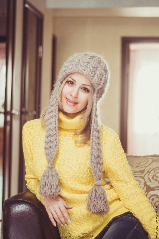 схема женской вязаной шапки с ушами и снуд
