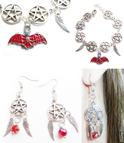 Серебряный браслет  и серьги `Сверхъестественное`. Серьги украшены крыльями Ангела и бусинами Сваровски.