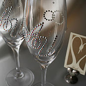 Свадебный салон handmade. Livemaster - original item Personalized wedding glasses with Swarovski crystals. Handmade.